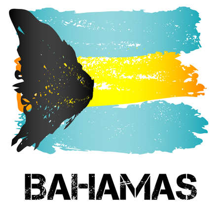 headed: Flag of Bahamas from brush strokes in grunge style isolated on white background. Independent state in North America within Commonwealth headed by Great Britain. Vector illustration