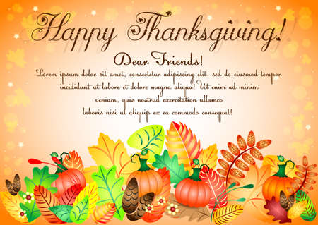 profusion: Postcard with colorful autumn leaves and pumpkins for greetings with happy Thanksgiving. Illustration