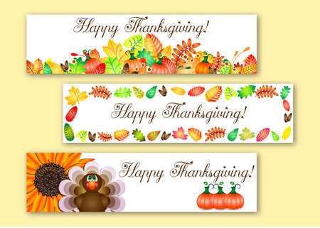 profusion: Cute banners with colorful autun leaves, pumpkins and turkey for greetings with happy Thanksgiving.