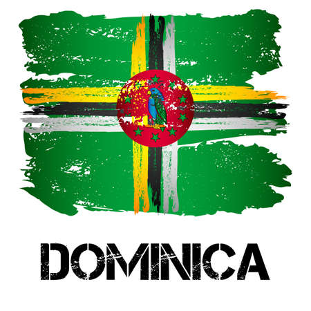 Flag of Commonwealth of Dominica from brush strokes in grunge style isolated on white background. Country in North America. Illustration