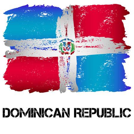 흰색 배경에 고립 된 그런 지 스타일에서 브러시 획에서 도미니카 공화국의 국기. 북아메리카의 국가. 라틴 아메리카. 일러스트