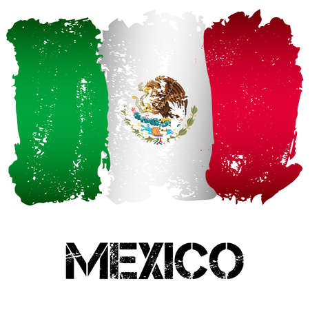 Flag of Mexico from brush strokes in grunge style isolated on white background. Country in North America. Latin America. Фото со стока - 64942538