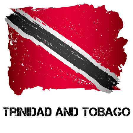Flag of Trinidad and Tobago from brush strokes in grunge style isolated on white background. Country in North America. Illustration
