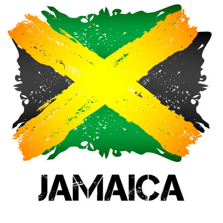 headed: Flag of Jamaica from brush strokes in grunge style isolated on white background. Independent state in North America within Commonwealth headed by Great Britain.
