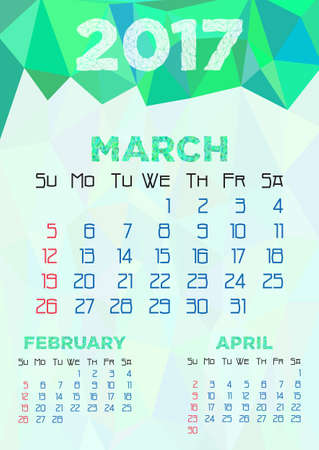 Abstract polygonal background with triangular ornament in sea green and dates of spring month March 2017. Week starts from Sunday.