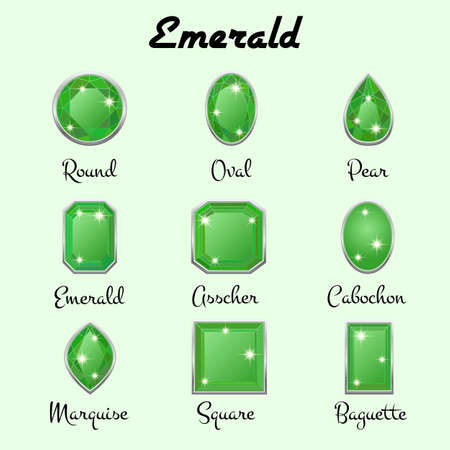 asscher: Set of different types of cuts of precious stone Emerald in realistic shapes in green color with silver edging. Vector illustration