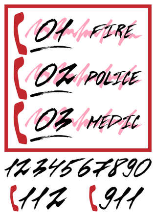 notifying: Notifying poster with emergency call numbers - ambulance, police department, fire brigade, rescue service in hand written style with grunge lettering. Vector illustration
