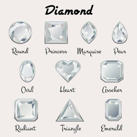 Set of different types of cuts of precious stone Diamond in realistic shapes in white color with silver edging. Vector illustration Illustration