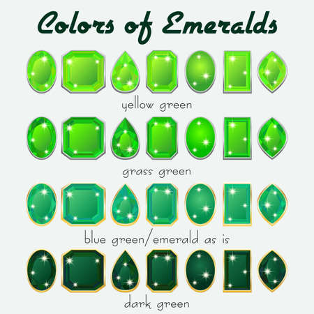 asscher cut: Set of crystals in natural tints of green color of precious stone Emerald in different cuts. Vector illustration
