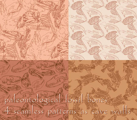 Set of seamless paleontology patterns with chaotic fossil bones in four variations in beige colors as ornament on cave walls. Vector illustration