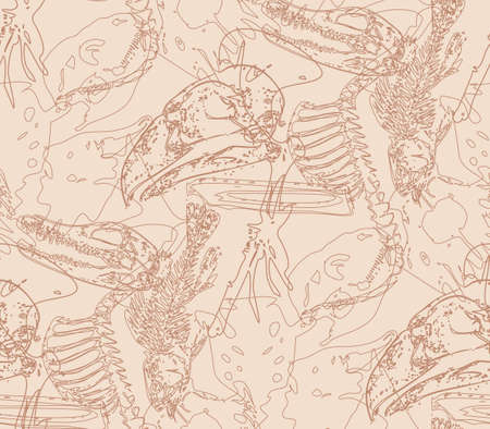 paleontology: Seamless paleontology pattern with chaotic fossil bones in beige colors as ornament on cave walls. Vector illustration