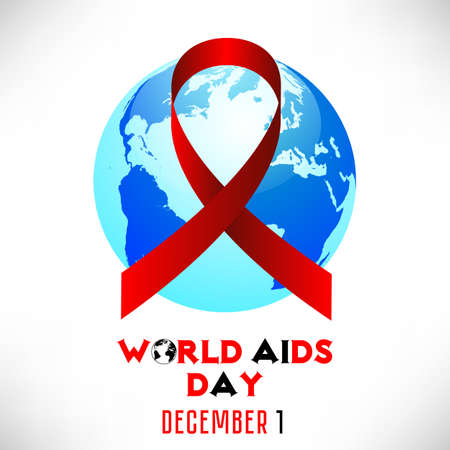 Red AIDS ribbon with blue Earth globe. World AIDS day in December 1 on white background. Vector illustration