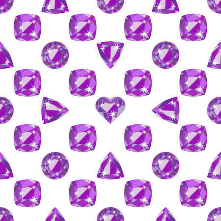 amethyst: Seamless pattern with violet precious gem Amethyst in different cuts on white background. Vector illustration