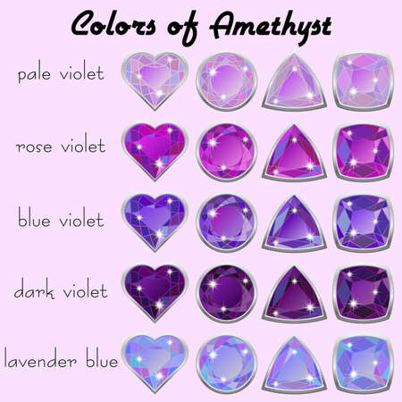 amethyst: Set of crystals in natural tints of violet color of precious stone Amethyst in realistic different cuts with silver edging. Vector illustration Illustration