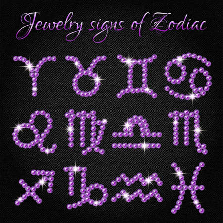 aquarian: Set of shining jewelry icons with signs of Zodiac on black denim background. Symbols of zodiac horoscope. Vector illustration