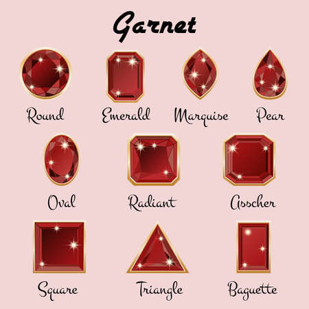 asscher cut: Set of different types of cuts of precious stone Garnet in realistic shapes in maroon color with golden edging. Vector illustration