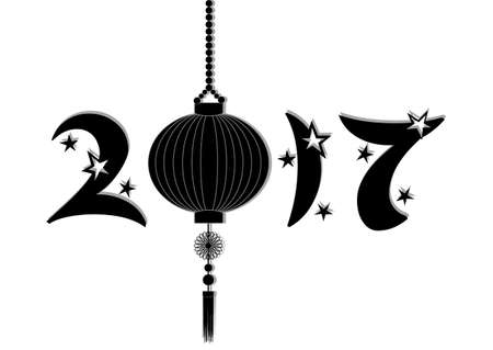 sky lantern: Greeting card to Chinese New Year. Year 2017 with stars and sky lantern in black and white. Vector illustration Illustration