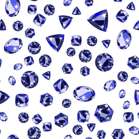 antic: Seamless pattern with deep blue scattered precious gem Sapphire from different cuts on white background. Vector illustration