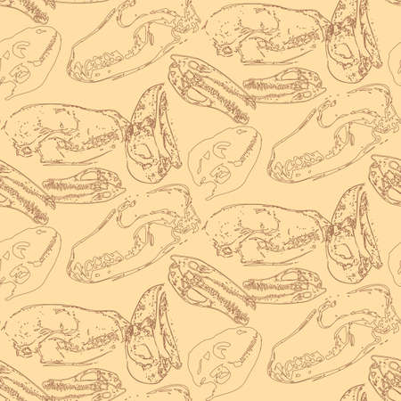 paleontology: Seamless paleontology pattern with chaotic fossil bones of skulls in pale yellow colors as ornament on cave walls. Vector illustration