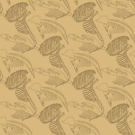 paleontology: Seamless paleontology pattern with chaotic fossil bones of ribs and skeletons in beige colors as ornament on cave walls. Vector illustration