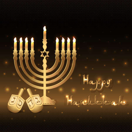 dedication: Postcard for greetings with Festival of Lights, Feast of Dedication Hanukkah. Golden menorah with candles and dreidels on black halftone background with gold shining.