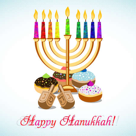 Postcard for greetings with Festival of Lights, Feast of Dedication Hanukkah. Menorah with colorful candles, dreidels and jewish sufganiots on halftone background.
