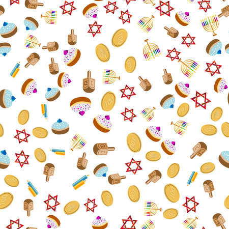 dedication: Seamless jewish pattern with objects for Festival of Lights, Feast of Dedication Hanukkah on white background.