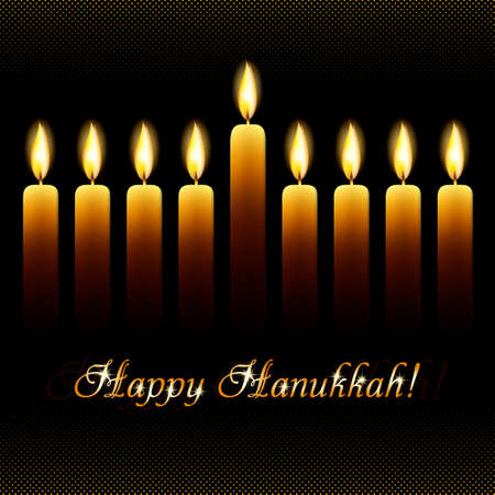 dedication: Postcard for greetings with Festival of Lights, Feast of Dedication Hanukkah. Nine wax candles with flames on black halftone background with golden shining greeting.
