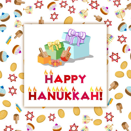 dedication: Postcard for greetings with Festival of Lights, Feast of Dedication Hanukkah. Gifts and lettering with flames on colorful background with Hanukkah elements.