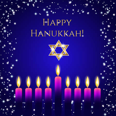 dedication: Postcard for Festival of Lights, Feast of Dedication Hanukkah. Nine wax candles with flames on deep blue background with frame from snow and sparkles and golden shining greeting. Illustration