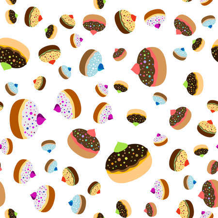 dedication: Seamless jewish pattern with colorful sufganiots for Festival of Lights, Feast of Dedication Hanukkah on white background. illustration