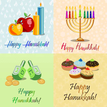 dedication: Postcards for Festival of Lights, Feast of Dedication Hanukkah with menorah, dreidels, sufganiots, candles and apples on different colorful backgrounds with Hanukkah elements.