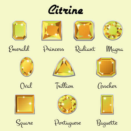 asscher cut: Set of different types of cuts of precious stone Citrine in realistic shapes in green yellow color with silver edging.