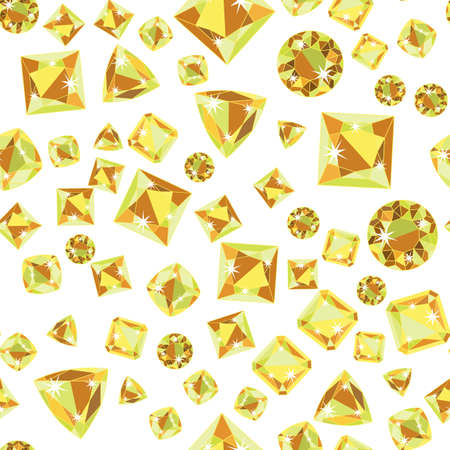 antic: Seamless pattern with green yellow scattered precious gem Citrine from different cuts on white background. Illustration