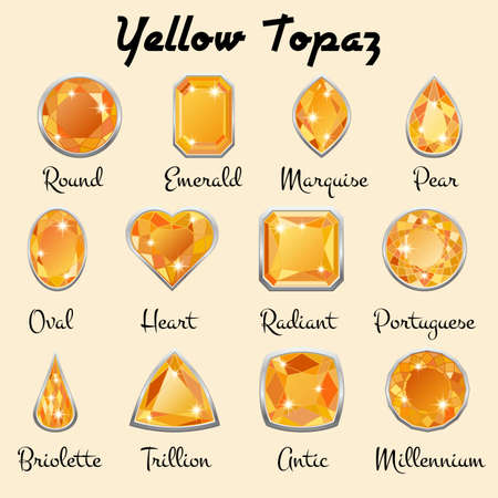 topaz: Set of different types of cuts of precious stone Topaz in realistic shapes in yellow color with silver edging. Vector illustration