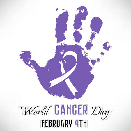Imprint of lavender hand with ribbon inside on white background. World Cancer day in February 4. Vector illustration