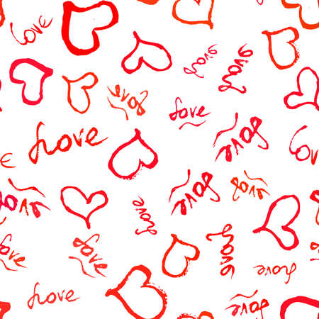 Seamless pattern with scattering of red hand drawn hearts and lettering Love on white background.