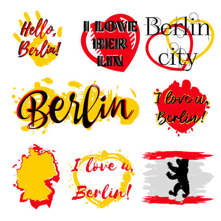 Set of stickers with lettering about Berlin and paint splashes in yellow red colors on white. Collection of souvenir prints for fabric textiles, clothing, shirts.