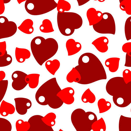 Seamless pattern with scattering of red hearts on white background.