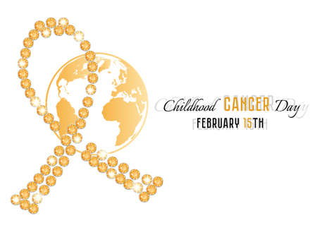 Golden cancer ribbon from topaz precious stones with Earth globe in tints of yellow isolated on white. Childhood Cancer Day in February 15. Vector illustration