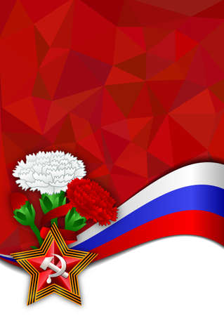 Card with soviet star in shape of George ribbon, bouquet of carnations and russian flag on red polygonal background. Defender of Fatherland day in Feb 23 or Victory day in May 9. Vector illustration Illustration