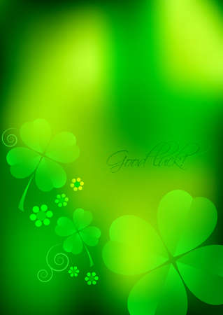 Holiday card for St. Patricks Day in March 17. Green blurred background with shamrocks. Vector illustration