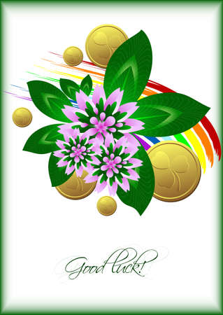 Holiday card with lucky clover leaves, flower and gold coins on white background with rainbow for St. Patricks Day in March 17. Good luck. Vector illustration