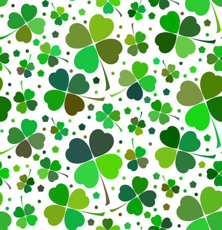 Seamless floral pattern with lucky shamrock leaves in green and white colors. Vector illustration Illustration