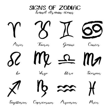 capricornus: Set of icons with signs of Zodiac in hand drawn technique and grunge style isolated on white background. Symbols of zodiac horoscope. Vector illustration