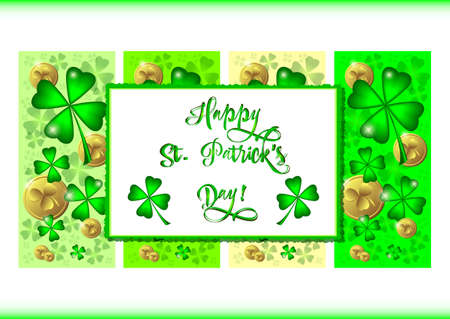 march 17: Holiday banners with green clovers and coins for St. Patricks Day in March 17. Vector illustration Illustration