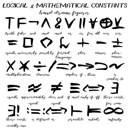 Hand drawn signs, written black figures of logical and mathematical constants in grunge technique. Vector illustration
