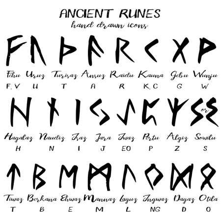 Dibujado a mano antiguo alfabeto de la runa, fuente escrita del grunge con los nombres de las runas y transliteración a América. ilustración vectorial