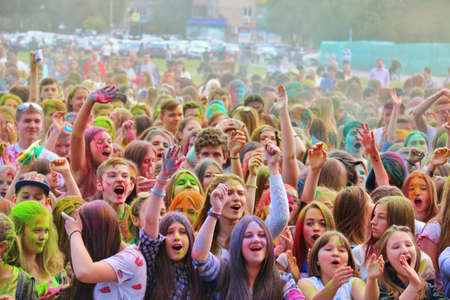 Young people at concert dedicated to festival of colors Holi on June 13, 2016 in Tula, Russia