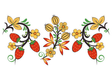 Floral ornament with flowers and strawberries in Khokhloma style in traditional colors isolated on white background. Russian folklore. Vector illustration